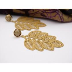 Ohrringe Metall Blätter ocker