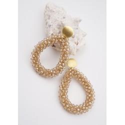 Ohrringe Glasperlen Loop gold